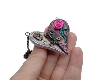 Heart Necklace, Victorian Jewelry, Steampunk Jewelry, Polymer Clay Heart, Steampunk Necklace, Girlfriend Gift, Love Gift, Clay Heart, Ooak