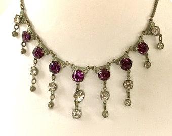 Vintage Purple Czech Glass Bib Necklace with rhinestones 1940s Bib Necklace with Box Clasp