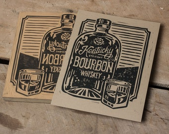 Kentucky Bourbon Whiskey-  Block Print