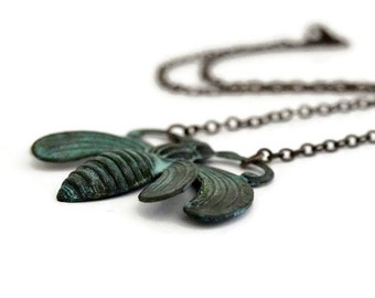 Bee Necklace / Verdigris Patina / Large Bee Necklace / Verdigris Necklace / Bee Jewelry