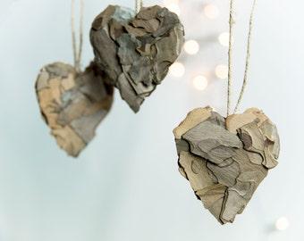 Rustic heart ornaments - Valentines day decor - Rustic wedding decor