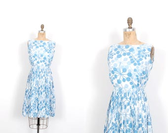 Vintage 1960s Dress / 60s Atomic Print Dress / Blue and White ( XS extra small )