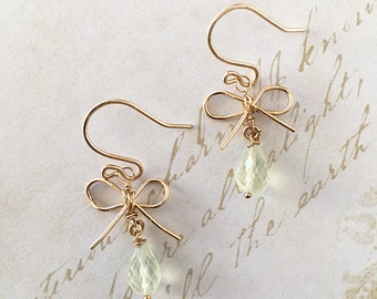 Bow Earrings - Tiny Gold Bow Earrings - Bow Jewelry - Prehnite Earrings - Dangle Bow Earrings - Prehnite Bow Earrings