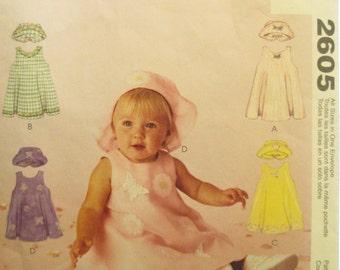 McCall's Pattern 2605 - Infants Dress, Hat and  - S, M, L, XL
