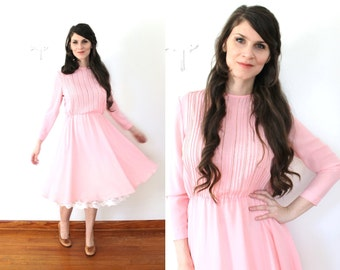 70s Pink Dress / 1970s Sheer Petal Rose Pink Full Skirt Dress