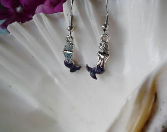 Silver Mermaid Earrings,Purple