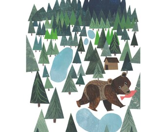 Bear in the woods artprint