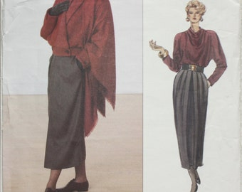 """Size 8-10-12  Bust 31.5"""" - 34"""" Vintage 80s Vogue American  Designer Sewing Pattern 2370 ADRI Jacket, Skirt,Top and Shawl"""