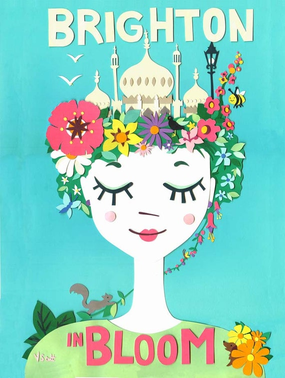Brighton in Bloom - Limited Edition Print - Brighton Art Print - Brighton Pavilion Print