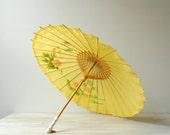 Vintage Parasol, Chinese Parasol, Yellow Parasol