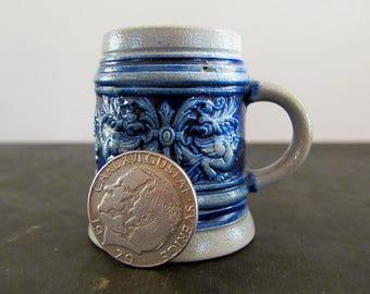 Miniature German Beer Stein Blue Salt Glaze