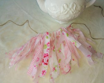 Adorable Mini Shabby Rag Garland Vintage Inspired Rustic Prairie Pink and White Jute Ready to Ship