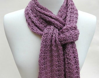 Wool & Alpaca Scarf/ Hand Knit/ Mauve/Cream