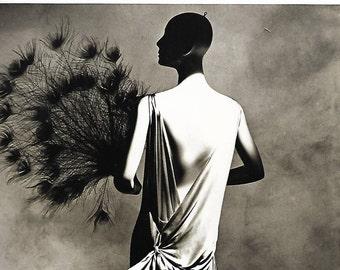 vintage vionnet dress fashion art print irving penn photograph black white photo image home decor picture peacock fan woman profile back 70s