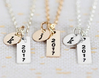 Class of 2017 Necklace, Personalized High School Graduation Gift, Mini Bar Necklace, Sterling Silver Gold Filled