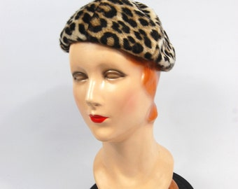 1960s Faux Leopard Fur Beret Hat - Faux Leopard Fur - Faux Fur Hat - Leopard Fur // Early 1960s