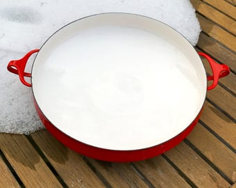 50s Dansk Kobenstyle Denmark Ducks Paella Pan Large Original Red White Enamel Handles Jens Quistgaard Iconic Mid Mod Design Collectible