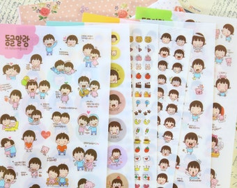 Cute Girl cartoon kids stickers set