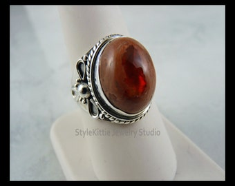 Mexican Fire Opal in Matrix 925 Sterling Silver Ring - Size 8 3/4, October Birthstone, Natural Orange Opal, Bali Style Silver, Jewelry