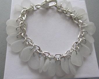 Sea Glass Bracelet Jewelry, Sea Glass Bracelet, Chain Bracelet, Beach Glass Jewelry, Genuine Sea Glass, Beach Jewelry