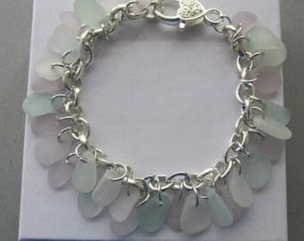 Sea Glass Bracelet, Glass Jewelry, Amethyst Beach Glass, Sea Foam Bracelet, Chain Bracelet, Beach Jewelry