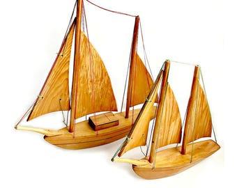 Wood Sailboats, Vintage Wooden Sailboats, Handmade Vintage Sailboats, Sailboat Set, Vintage Nautical Decor, Vintage Wooden Rustic Sail Boats