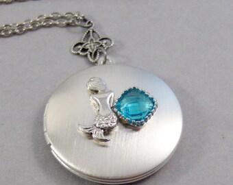 Siren's Song,Mermaid Necklace,Birthstone Necklace,Topaz Necklace,Topaz Birthstone,Mermaid Locket,Birthstone Locket,Mermaid Jewelry,Handmade