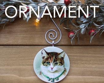 Cat Ornament, Christmas Tree Decoration, Tree Ornament, Vintage Ornament, Cat Gift, Christmas Gift, Stocking Stuffer, Free Shipping