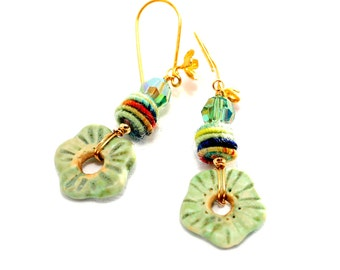 Fiber Bead Earrings. Spring Green Artisan Earrings. Ceramic Flower Beads. Boho Woodland Earrings. Gifts For Her. Fiber Bead Jewelry.