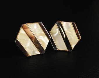 Vintage Hexagon Cuff Links with Mother of Pearl Stripes