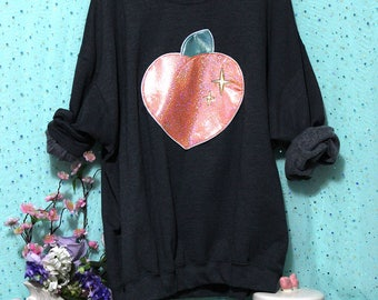 Sparkle Peach Applique Sweatshirt - Holographic or Fluffy Many Colors Sizes S-5X Plus Size Available