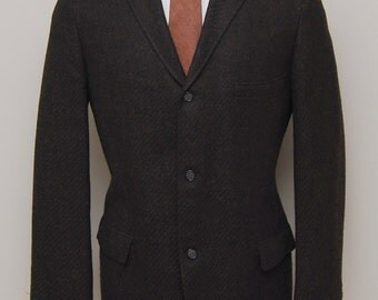 1950s men's brown and black diagonal stripe wool blazer/ 60s men's blazer/ Robert Hall