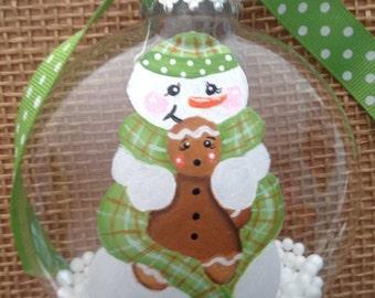 Snowman Christmas ornament, gingerbread ornament.  Hand painted Christmas ornament. Personalized ornament, keepsake ornament.