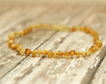 Baltic Amber Teething Necklace, natural pain relief, polished amber jewelry, baby teething, kids, adults,