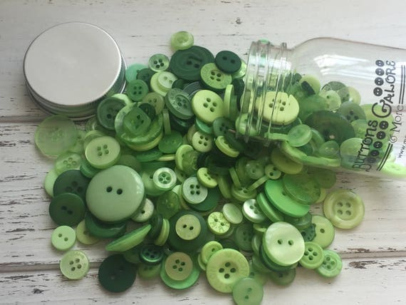"""Hand Dyed Buttons, """"Greenery"""", Mixed Buttons, 200 Buttons, Plastic Mini Mason Jar by Buttons Galore, 2 & 4 Hole Assortment"""