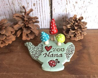 Heart You Nana Miniature Clay Teapot Fairy Mushroom Garden Figurine Indoor Decor Personalized Love Message Present For Her Grandmother Gift