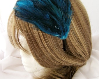 Sapphire Blue feather fascinator blank Base (5 fastner option) Derby feather cap,fascinator for mardi gras, kentucky derby, or tea party