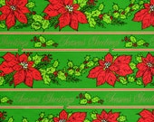"""Vintage Christmas Wrapping Paper - """"Seasons Greetings"""" Poinsettias - Holiday Wrapping Paper"""