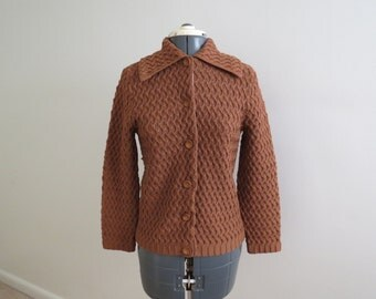 Vintage 1960s Rust Knit Cardigan Sweater - Womens Bust 34 by Champion Knitting Mills Montreal