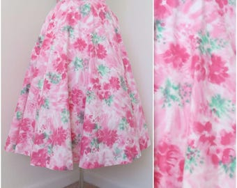 Vintage 1950s Pink Floral Full Circle Skirt - Womens Waist 26