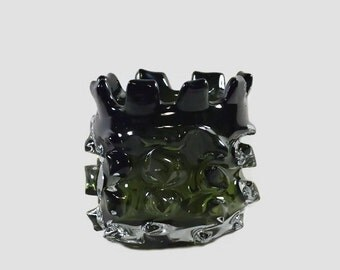 Vintage Green Knobbly Glass Candle Holder
