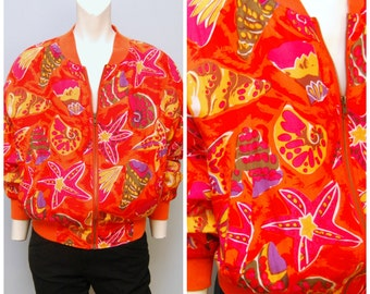 Vintage 1980's Bright Orange Silk Bomber Jacket with Seashell, Starfish, Beach Pattern Size Small Fits Oversized and Baggy by Carol Horn