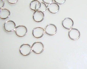 6 pcs, 8.5x4.5mm OD, 3mm ID, small tiny infinity link, Figure 8, Sterling Silver, eye link, Minimalist Findings Collection,CC-0035