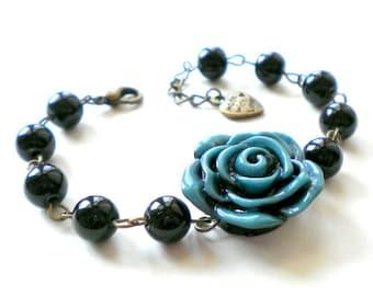 Flower Bracelet Black Bridesmaid Bracelet Blue Rose Bracelet Floral Bracelet Black Wedding Jewelry Flower Statement Bracelet Floral Jewelry