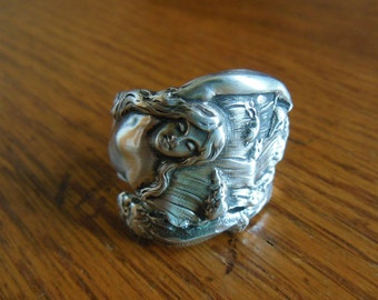 Mermaid  Antique Sterling Silver Spoon Ring  size 8.25