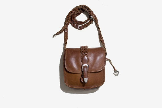 Vintage Leather Satchel / Brown Leather Saddle Bag / Mini Leather Purse / Crossbody Purse / Woven Leather Bag / Brighton Purse