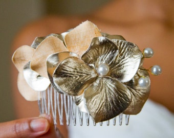 Gold and Pearl Flower Hair Comb