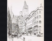RESERVED for Christine -- NEW YORK Pencil Sketch Vintage Print, 11 x 14 mat, Manhattan, Broadway,Beautifully Illustrated, Skyscraper