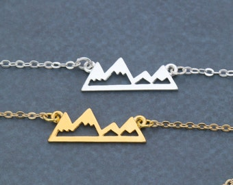 FREE SHIP • Mountain Necklace Gift • Silver Mountain Jewelry • Gold Mountain Outline • Pendant Wanderlust Gift • Mountain Hiker Gift Outdoor
