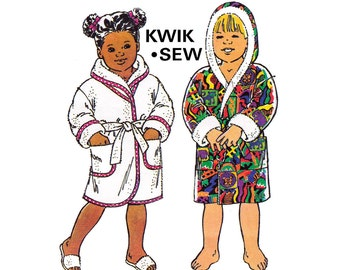 Kwik Sew 2259 Toddlers Robe Dressing Gown Hooded Wrap Sewing Pattern Size 1 - 4 UNCUT Factory Folded master pattern